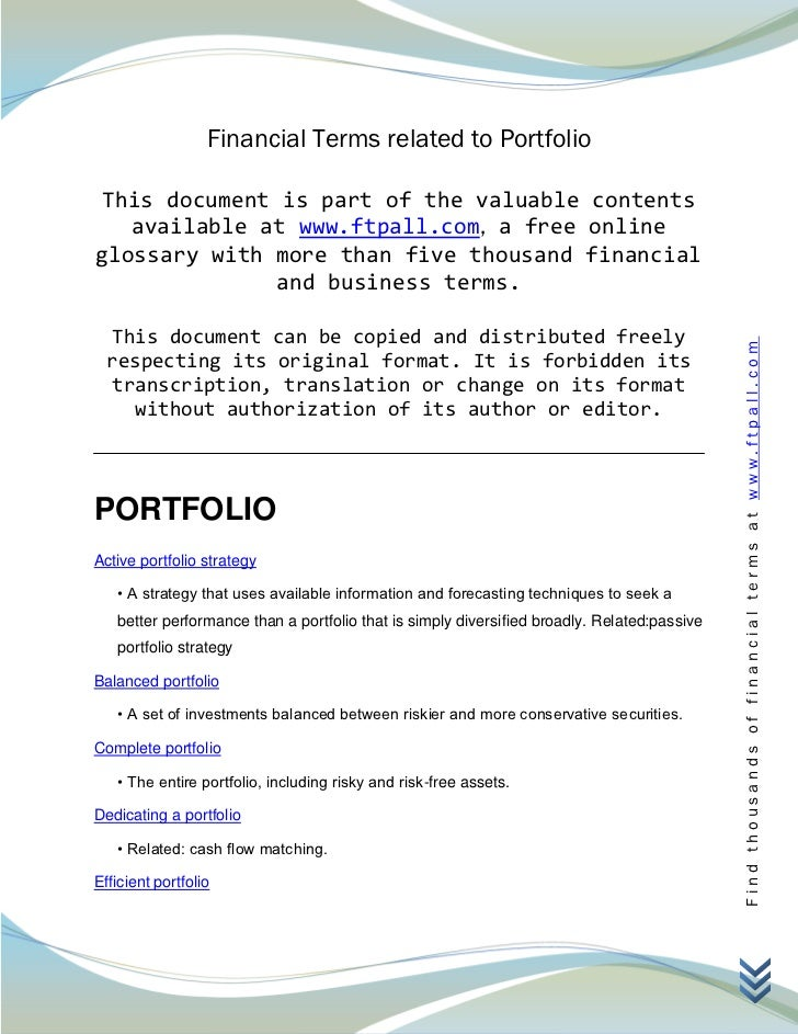 Financial Terms related to Portfolio This document is part of the valuable contents   available at www.ftpall.com, a free ...
