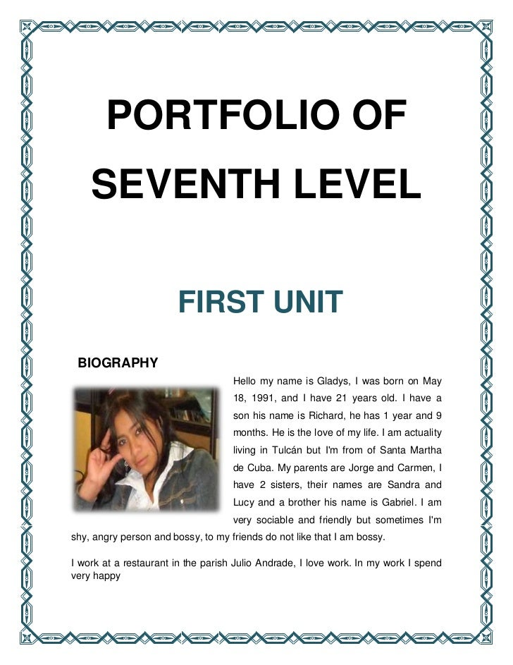 PORTFOLIO OF    SEVENTH LEVEL                       FIRST UNIT BIOGRAPHY                                    Hello my name ...