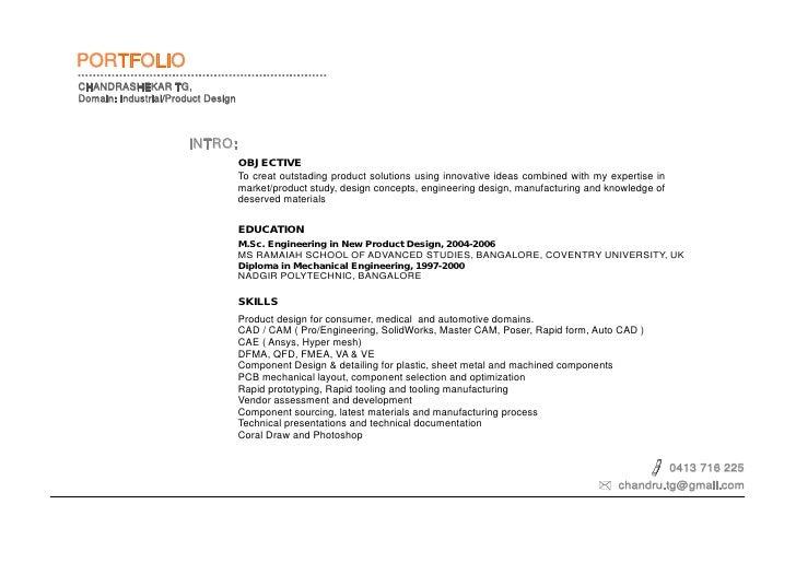 PORTFOLIO CHANDRASHEKAR TG, Domain: Industrial/Product Design                           INTRO:                            ...
