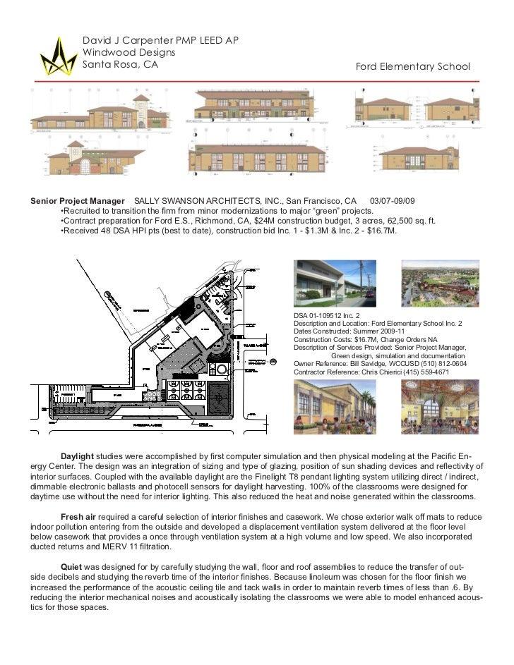 David J Carpenter PMP LEED AP              Windwood Designs              Santa Rosa, CA                                   ...