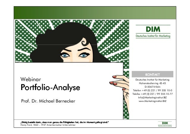 "Webinar PortfolioPortfolioPortfolioPortfolio----AnalyseAnalyseAnalyseAnalyse Prof. Dr. Michael Bernecker """"""""Erfolg besteh..."