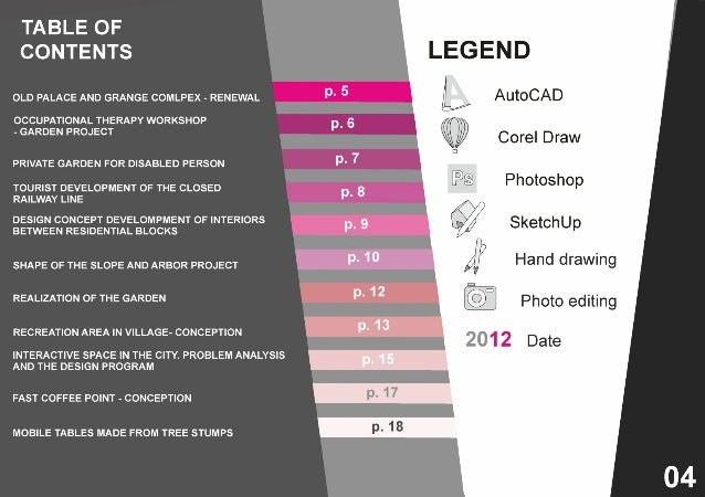Architecture portfolio design table of contents www for Table of contents design