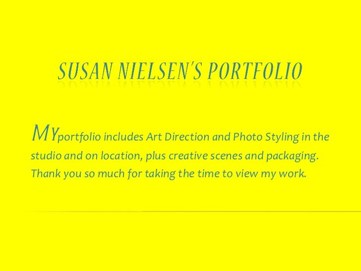 My  portfolio includes Art Direction and Photo Styling in the studio and on location, plus creative scenes and packaging. ...