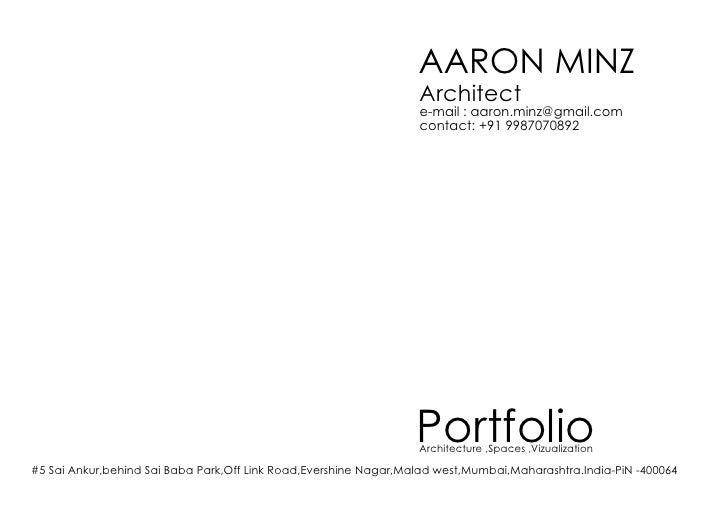 AARON MINZ                                                                   Architect                                    ...