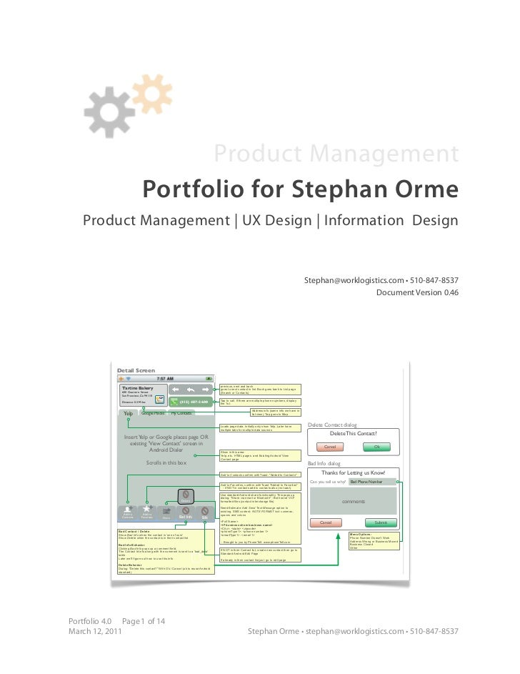Product Management                               Portfolio for Stephan Orme   Product Management | UX Design | Information...