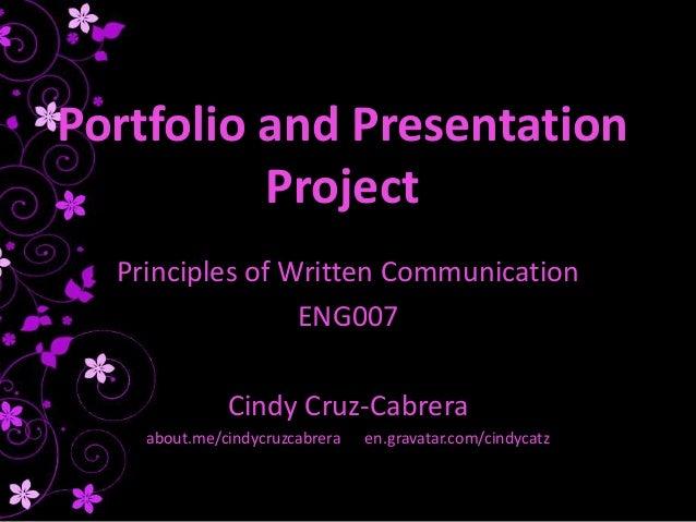 Portfolio and Presentation Project - Cindy Cruz-Cabrera