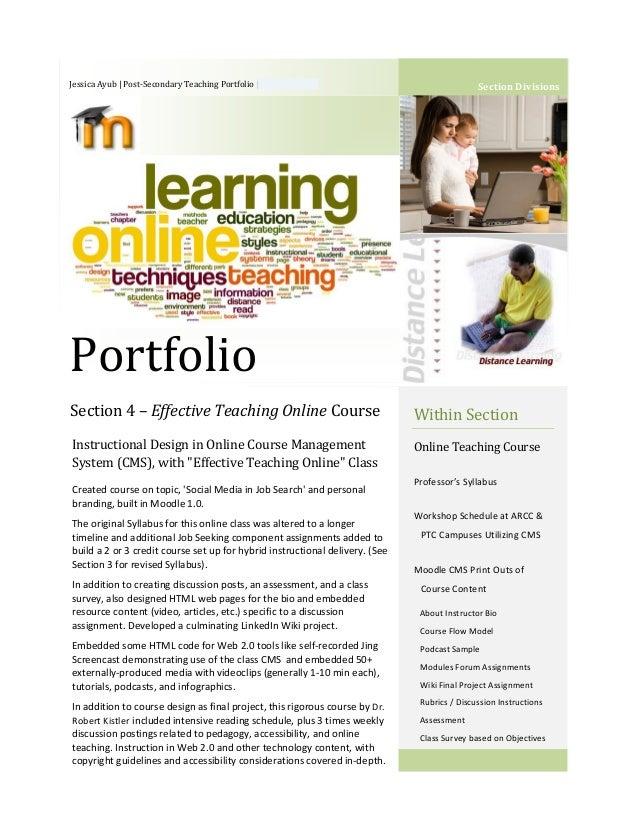 Jessica Ayub | Post-Secondary Teaching Portfolio | 763-248-0854  Section Divisions  Portfolio Section 4 – Effective Teachi...