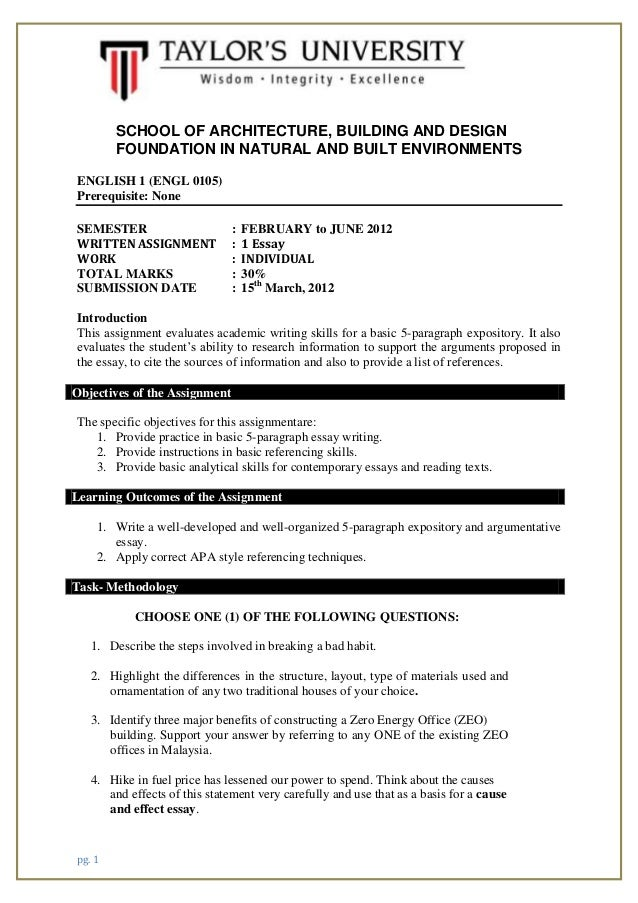pg. 1 SCHOOL OF ARCHITECTURE, BUILDING AND DESIGN FOUNDATION IN NATURAL AND BUILT ENVIRONMENTS ENGLISH 1 (ENGL 0105) Prere...