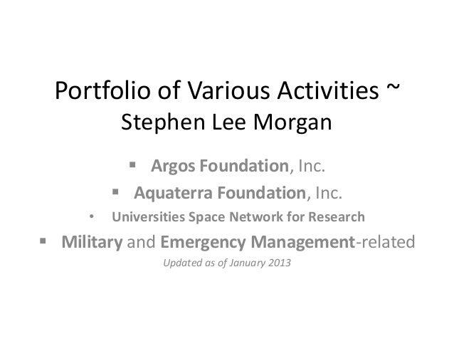 Portfolio of Various Activities ~          Stephen Lee Morgan            Argos Foundation, Inc.          Aquaterra Found...