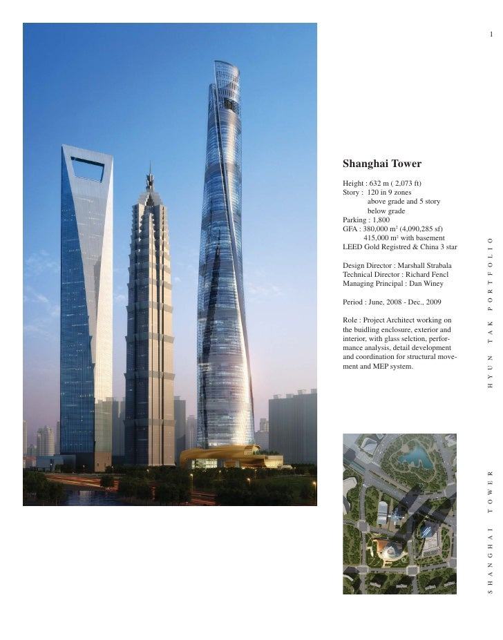 1     Shanghai Tower Height : 632 m ( 2,073 ft) Story : 120 in 9 zones         above grade and 5 story         below grade...