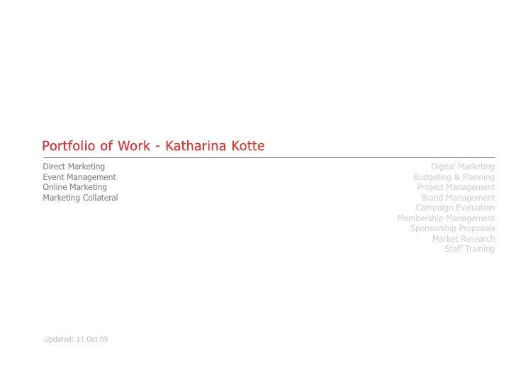 Portfolio of Work - Katharina Kotte Direct Marketing                              Digital Marketing Event Management      ...
