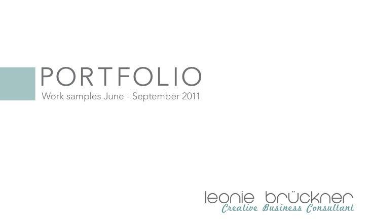 Por t fol ioWork samples June - September 2011