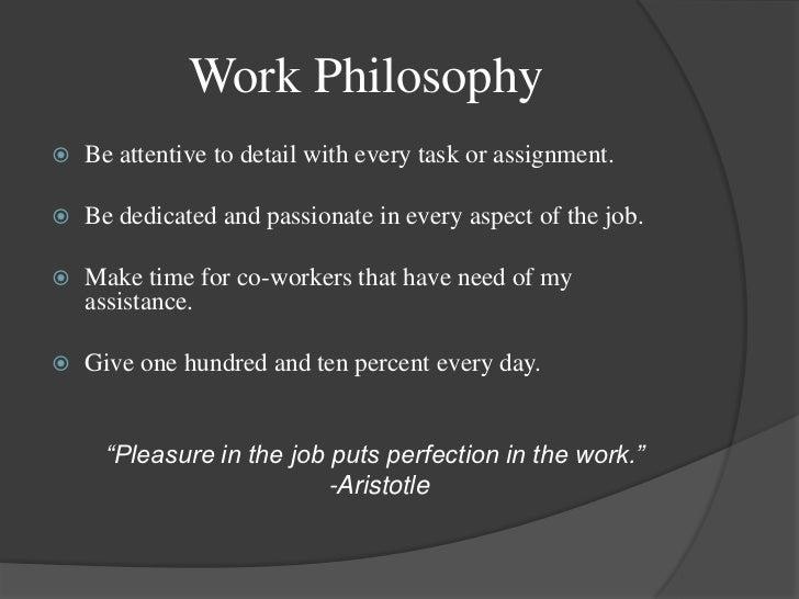 work philosophy examples for portfolio