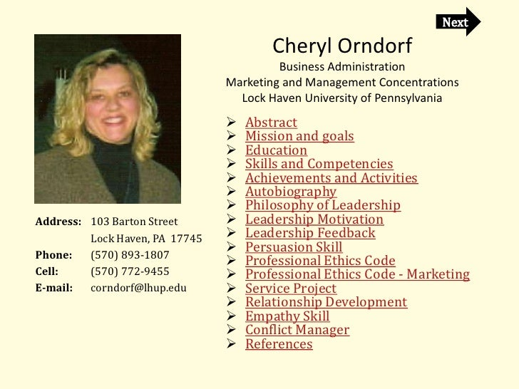 Cheryl Orndorf                                          Business Administration                                 Marketing ...