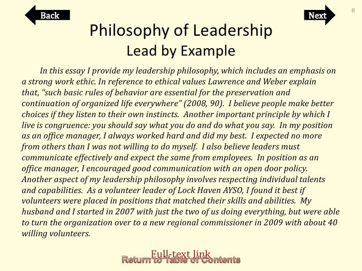 value of leadership essay