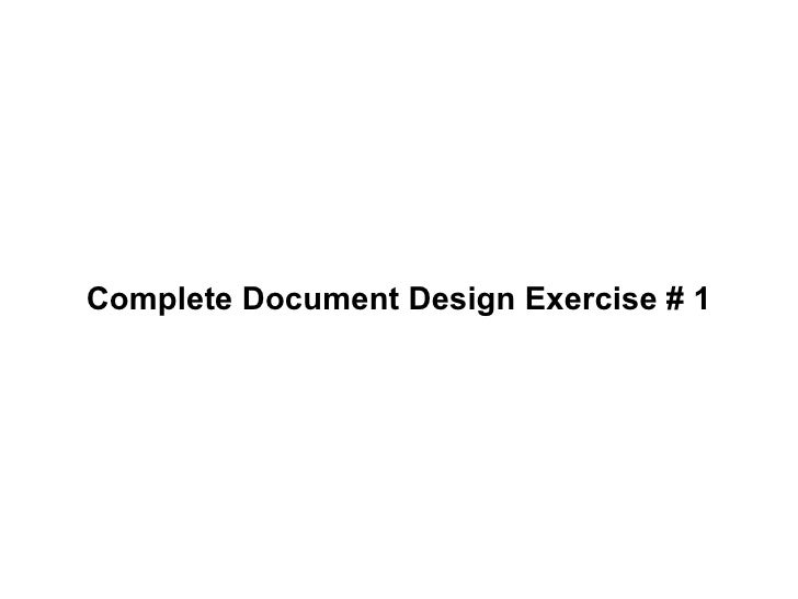 Complete Document Design Exercise # 1