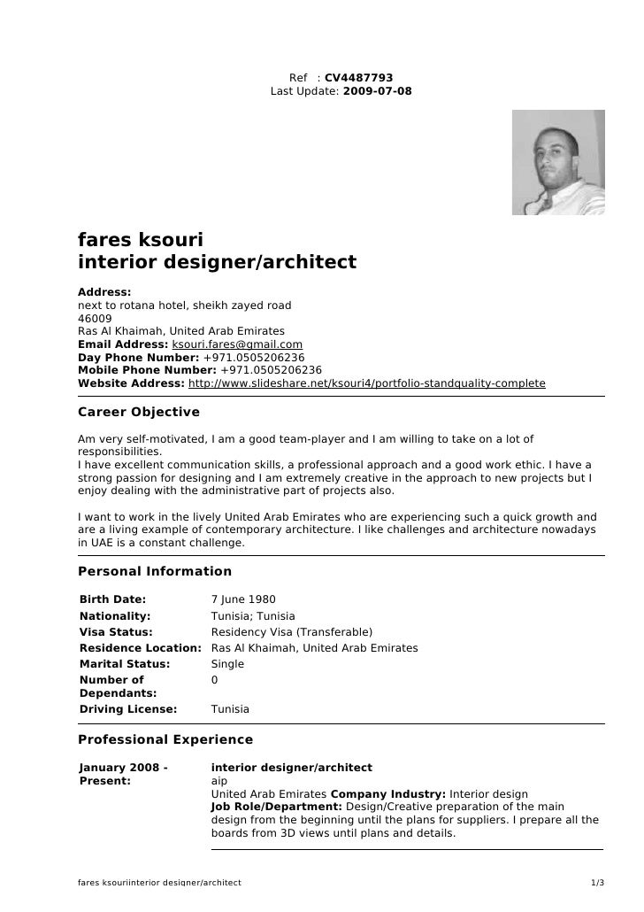 Ref : CV4487793                                           Last Update: 2009-07-08     fares ksouri interior designer/archi...
