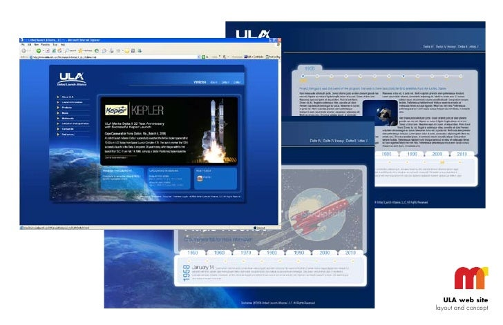ULA web site layout and concept