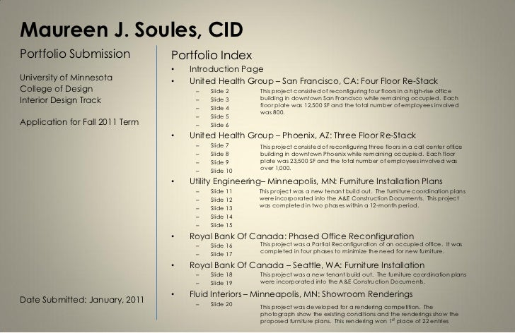Maureen J. Soules, CIDPortfolio Submission             Portfolio Index                                 •   Introduction Pa...