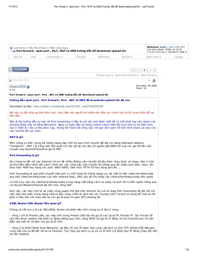 Port forward , open port , port , nat và dmz hướng dẫn để download upload tốc   voz-forums