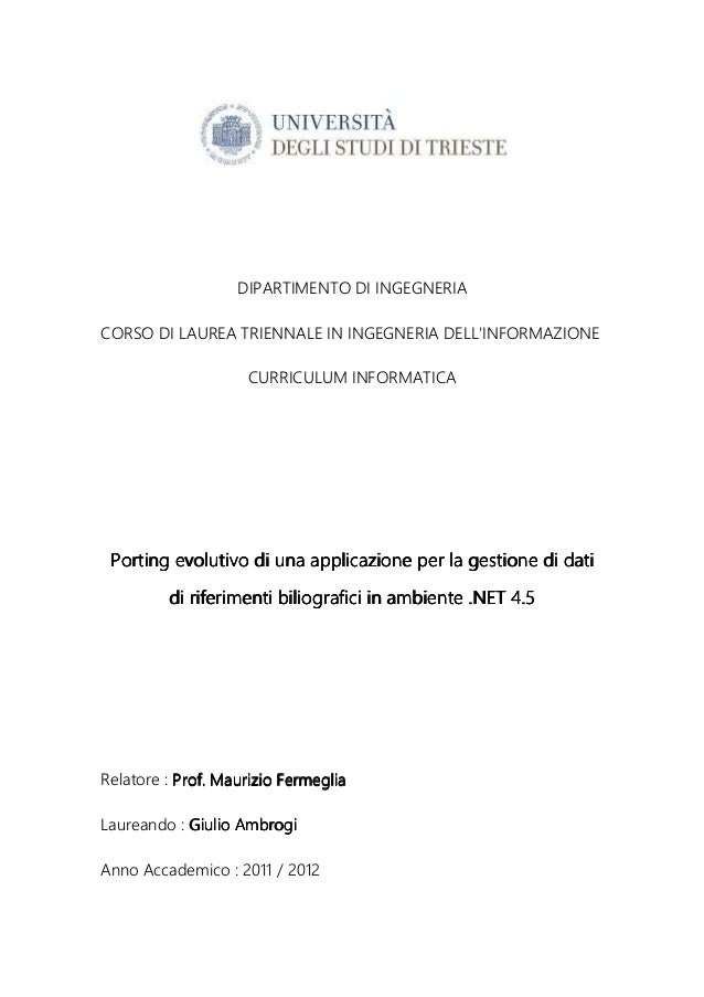 Porting evolutivo di una applicazione per la gestione di riferimenti bibliografici in ambiente .net 4.5