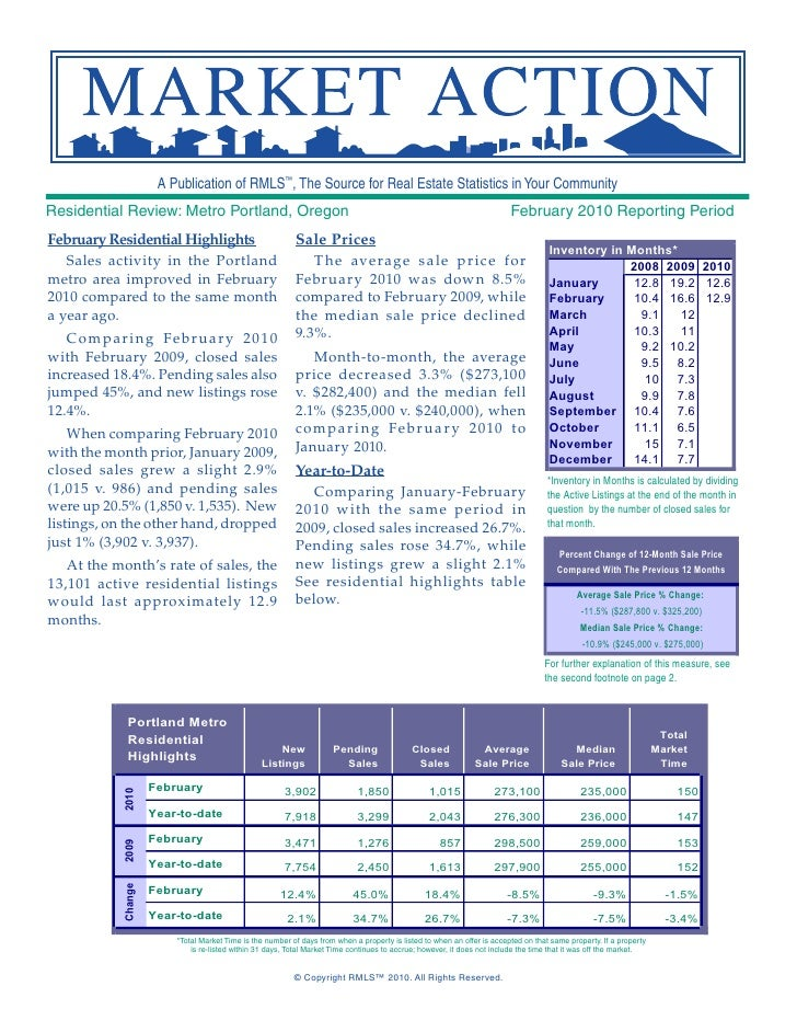 A Publication of RMLS™, The Source for Real Estate Statistics in Your Community Residential Review: Metro Portland, Oregon...