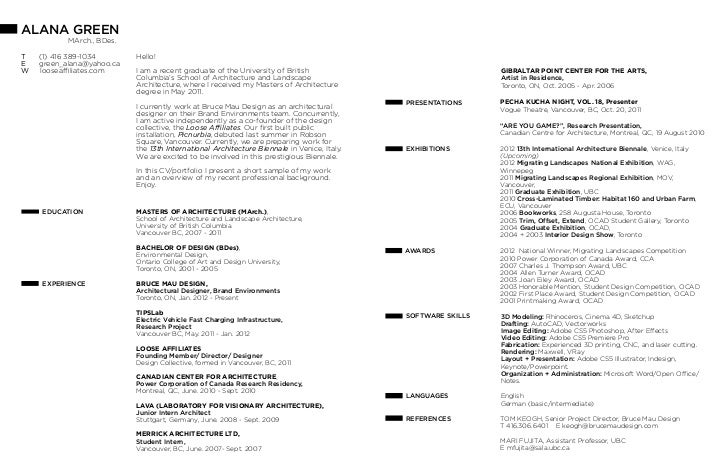 architecture student resume pdf