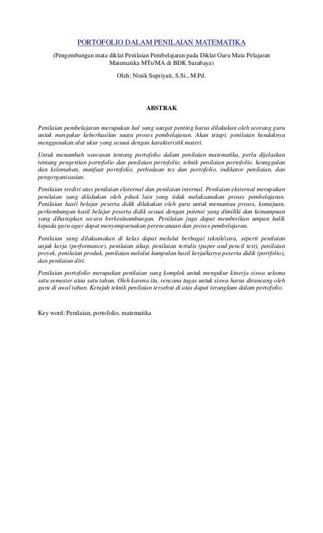 PORTOFOLIO DALAM PENILAIAN MATEMATIKA     (Pengembangan mata diklat Penilaian Pembelajaran pada Diklat Guru Mata Pelajaran...