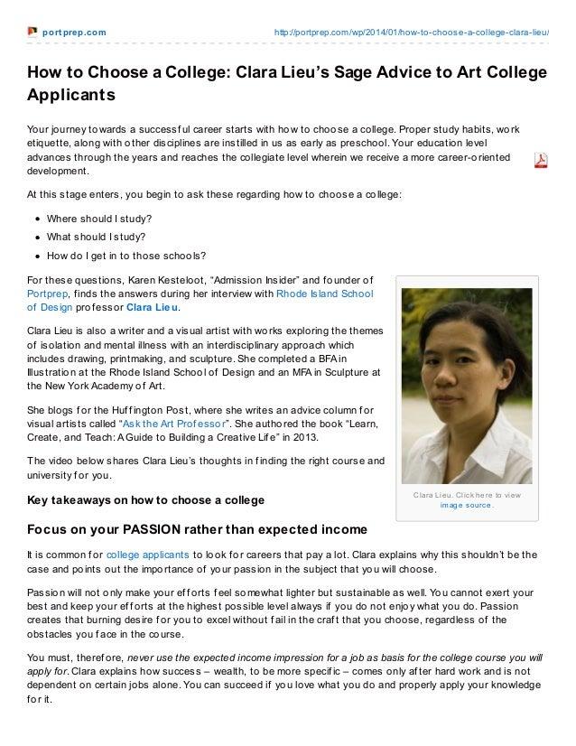po rt pre p.co m  http://po rtprep.co m/wp/2014/01/ho w-to -cho o se-a-co llege-clara-lieu/  How to Choose a College: Clar...