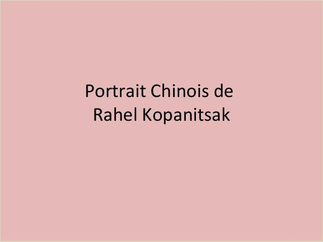 Portrait Chinois de Rahel Kopanitsak