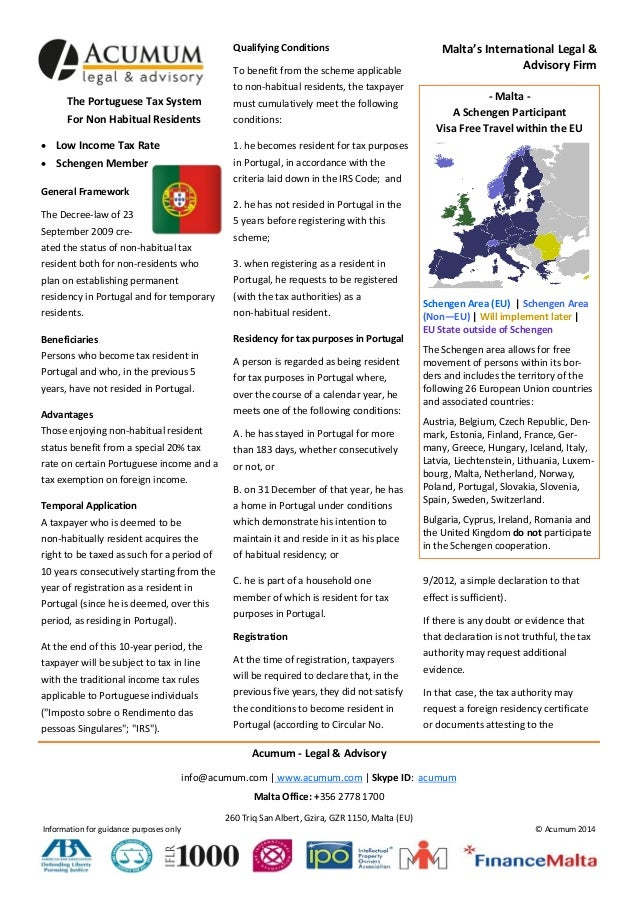 Portugal Income Tax - 20% Low Tax Non Habitual Resident Scheme