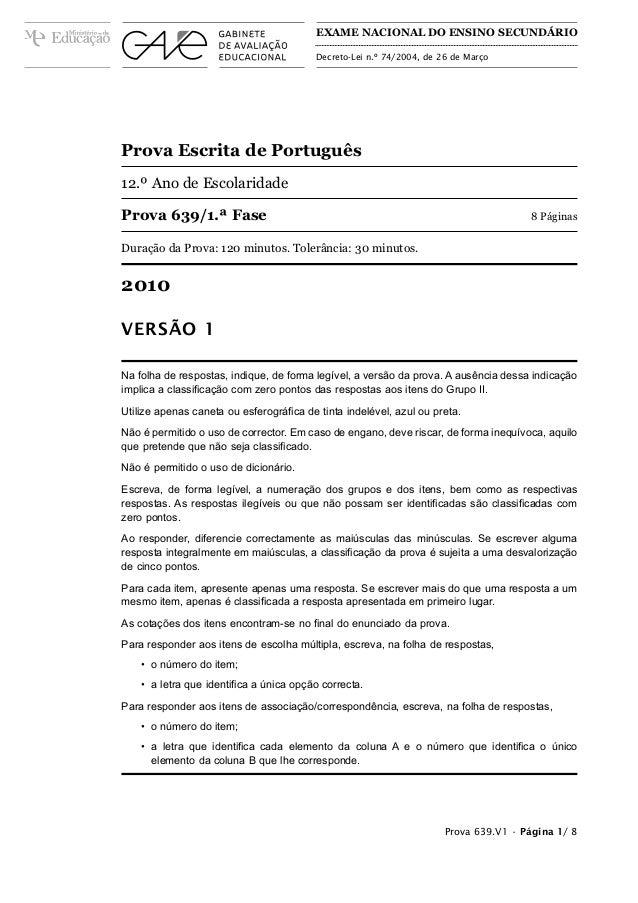 EXAME NACIONAL DO ENSINO SECUNDÁRIO                                         Decreto-Lei n.º 74/2004, de 26 de MarçoProva E...