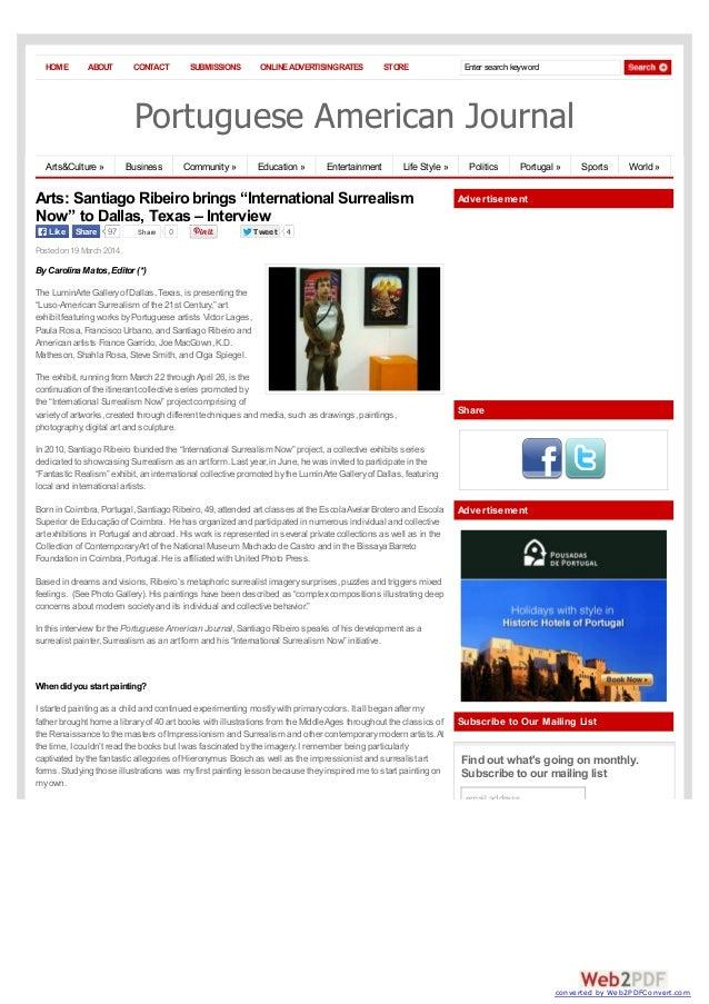 "Portuguese american-journal Santiago Ribeiro brings ""International Surrealism Now"" to Dallas, Texas – Interview"