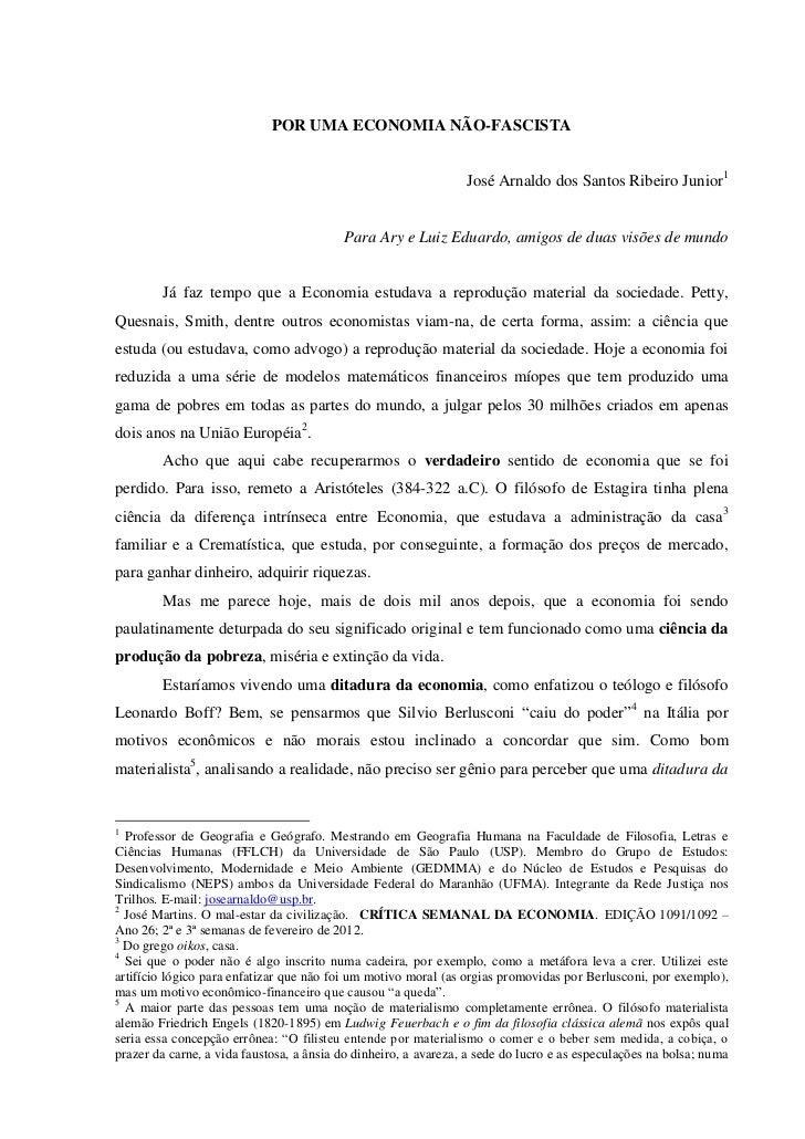 POR UMA ECONOMIA NÃO-FASCISTA                                                                 José Arnaldo dos Santos Ribe...