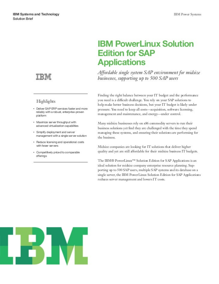 IBM PowerLinux Solution Edition for SAP Applications
