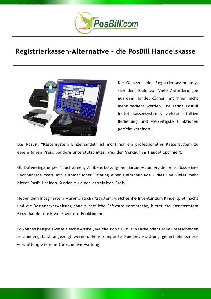 Registrierkassen-Alternative – die PosBill Handelskasse                                                     Die Glanzzeit ...