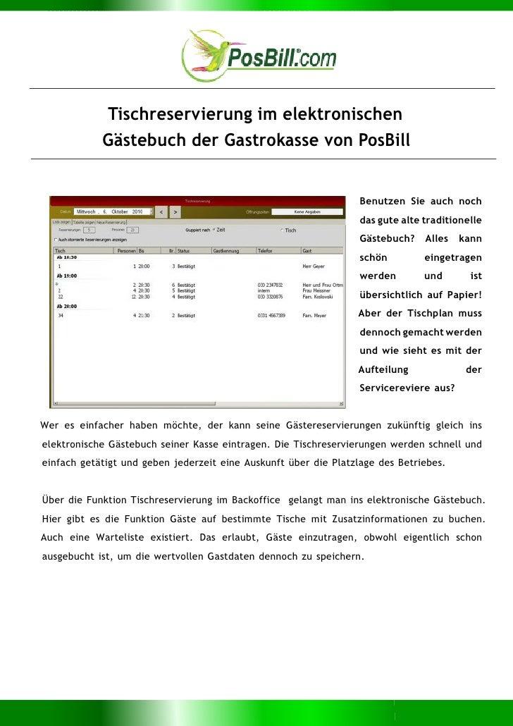 Tischreservierung im elektronischen Gästebuch der Gastrokasse von PosBill