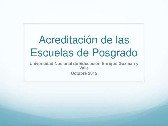 Posgrado, calidad y acreditación