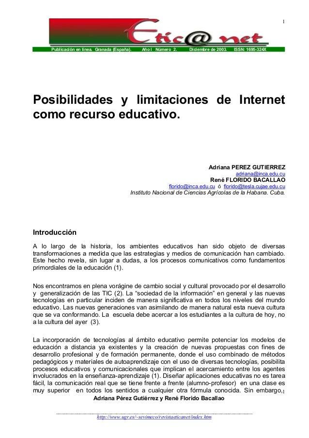 Publicación en línea. Granada (España). Año I Número 2. Diciembre de 2003. ISSN: 1695-324X 1 Adriana Pérez Gutiérrez y Ren...