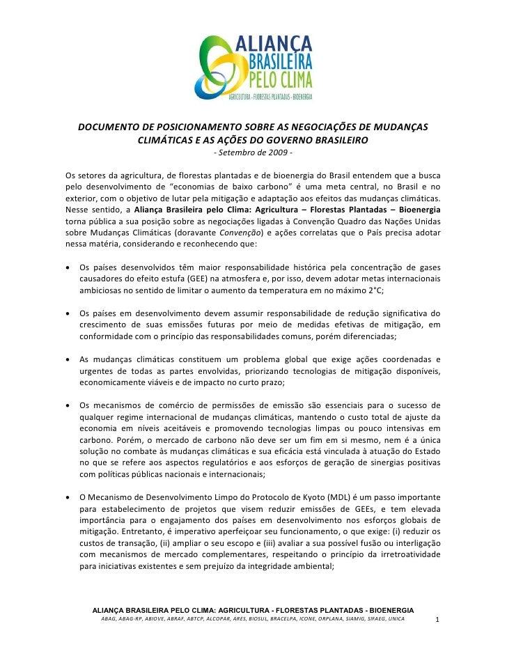 DOCUMENTO DE POSICIONAMENTO SOBRE AS NEGOCIAÇÕES DE MUDANÇAS              CLIMÁTICAS E AS AÇÕES DO GOVERNO BRASILEIRO     ...