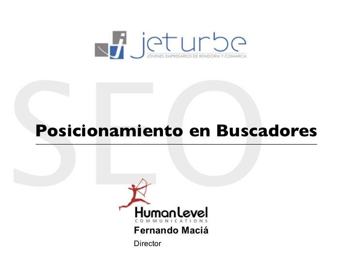 SEO Posicionamiento en Buscadores               Fernando Maciá           Director