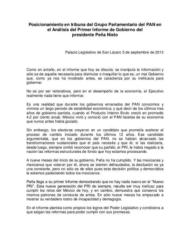Posicionamiento en tribuna del Grupo Parlamentario del PAN en el Análisis del Primer Informe de Gobierno del presidente Pe...