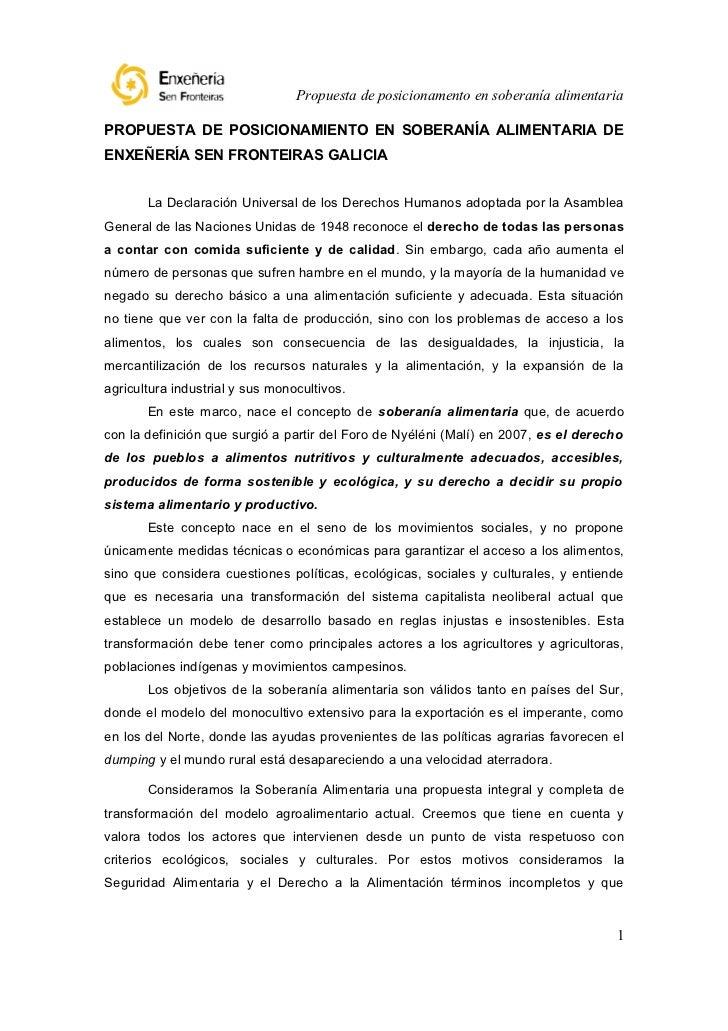 Propuesta de posicionamento en soberanía alimentariaPROPUESTA DE POSICIONAMIENTO EN SOBERANÍA ALIMENTARIA DEENXEÑERÍA SEN ...