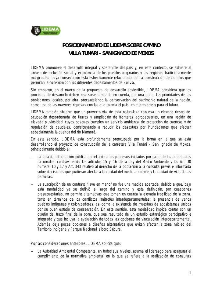 POSICIONAMIENTO DE LIDEMA SOBRE CAMINO                        VILLA TUNARI – SAN IGNACIO DE MOXOSLI...
