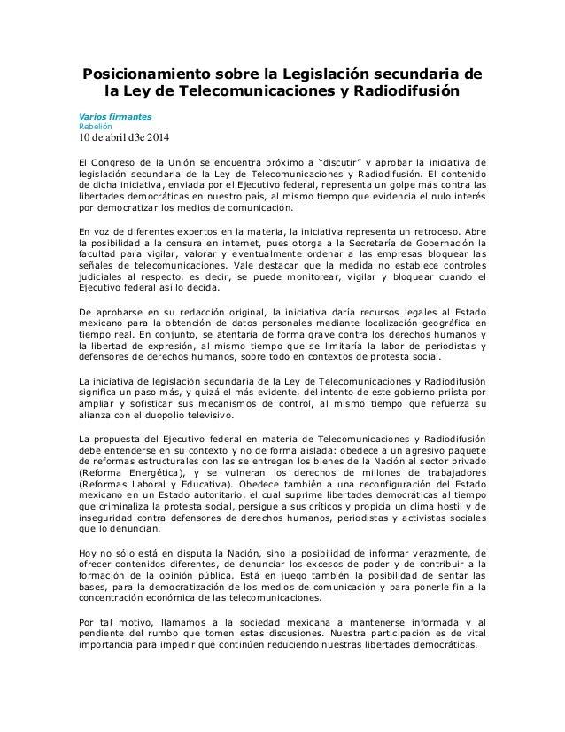 Posicionamiento sobre la Legislación secundaria de la Ley de Telecomunicaciones y Radiodifusión Varios firmantes Rebelión ...