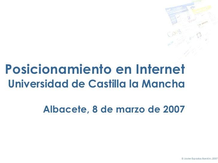 Posicionamiento en Internet. Máster en Tecnologías Web de la Universidad de Castilla-La Mancha