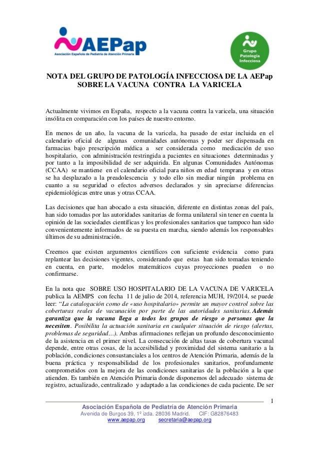 NOTA DEL GRUPO DE PATOLOGÍA INFECCIOSA DE LA AEPap  SOBRE LA VACUNA CONTRA LA VARICELA