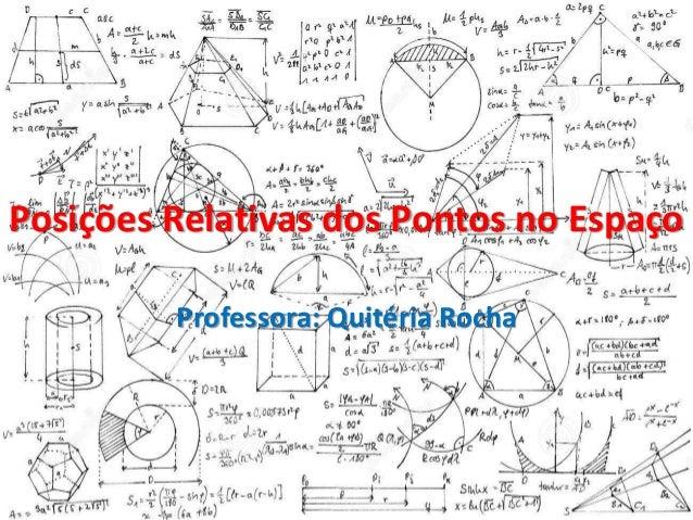 Posições Relativas dos Pontos no Espaço Professora: Quitéria Rocha