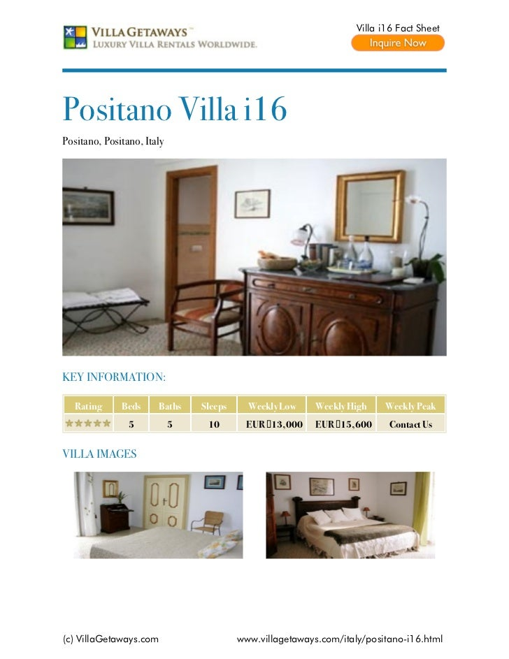 Villa i16 Fact SheetPositano Villa i16Positano, Positano, ItalyKEY INFORMATION:   Rating     Beds     Baths    Sleeps     ...