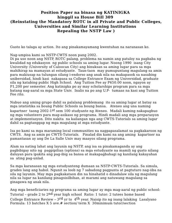 Position Paper na binasa ng KATINIGKA                       hinggil sa House Bill 309 (Reinstating the Mandatory ROTC in a...
